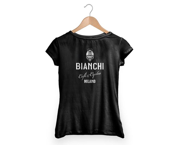 majica bianchi t-shirt cafe&cycles dama black